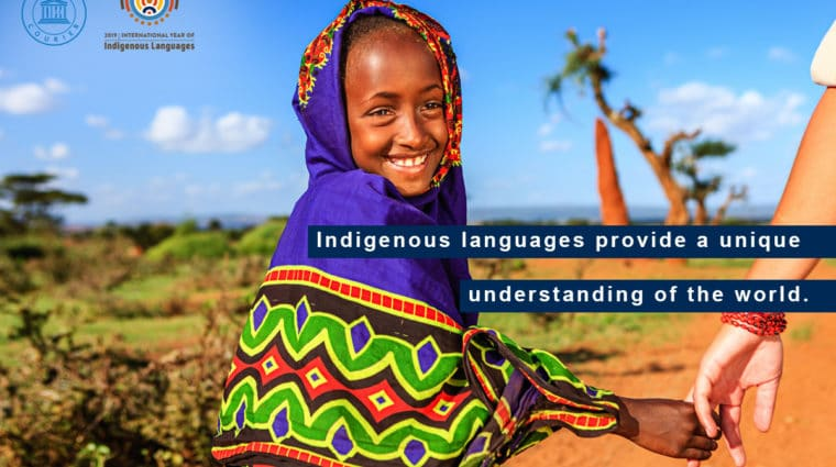 "2019 International Year of Indigenous Languages United Nations campaign poster. ""Indigenous languages provide a unique understanding of the world."""