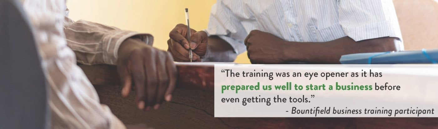 """Quote: """"The training was an eye opener as it has prepared us well to start a business before even getting the tools,"""" said one of the business management trainees."""